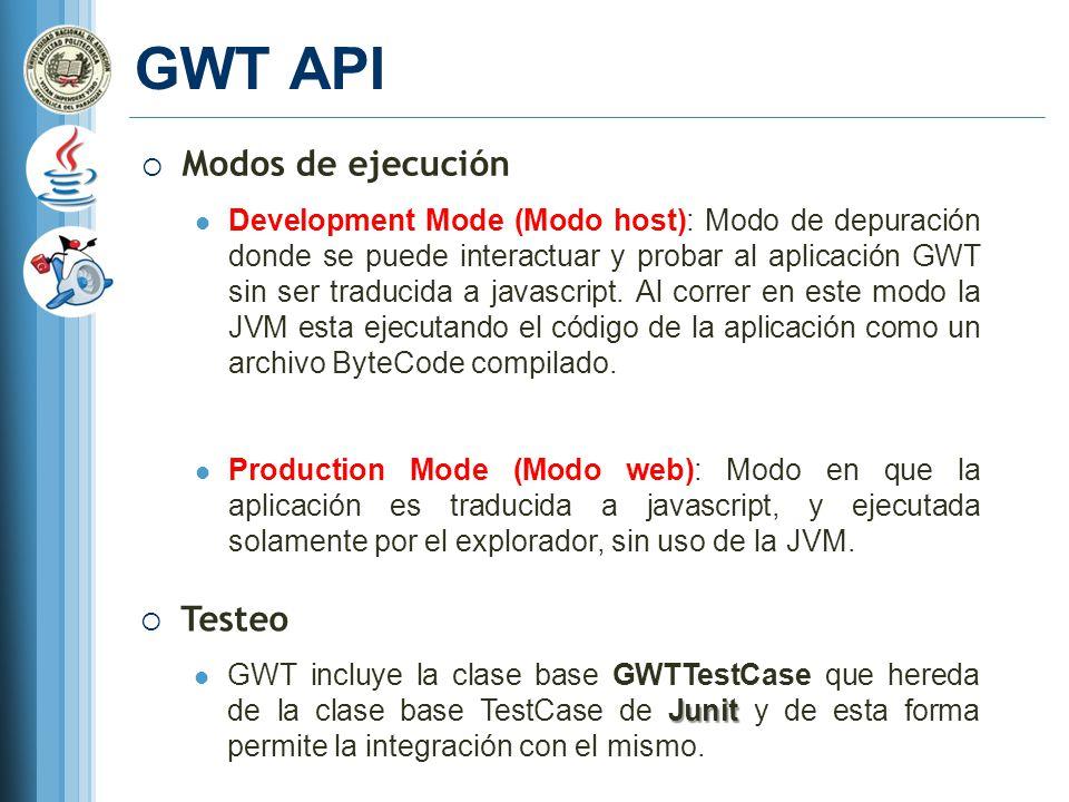 GWT API Modos de ejecución Testeo