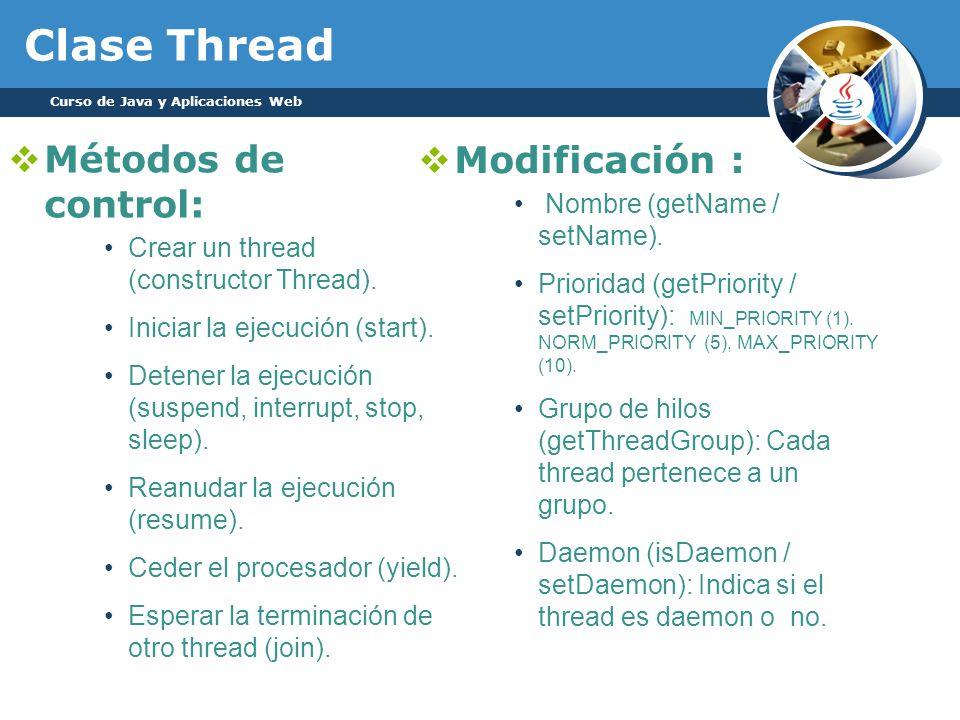 Clase Thread Métodos de control: Modificación :