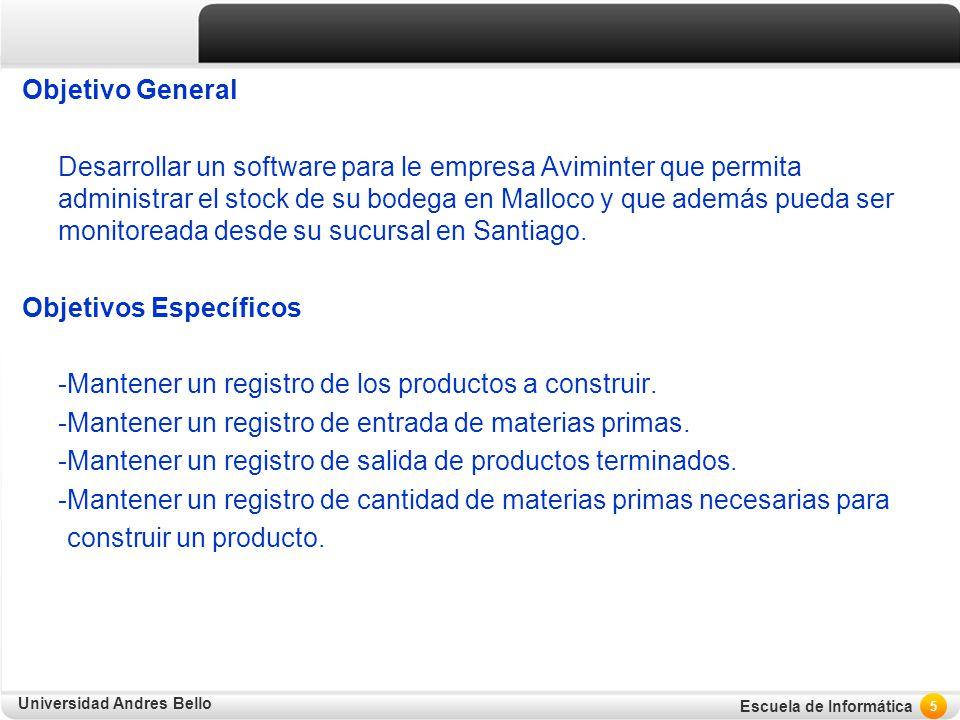 Objetivo General Desarrollar un software para le empresa Aviminter que permita administrar el stock de su bodega en Malloco y que además pueda ser monitoreada desde su sucursal en Santiago.