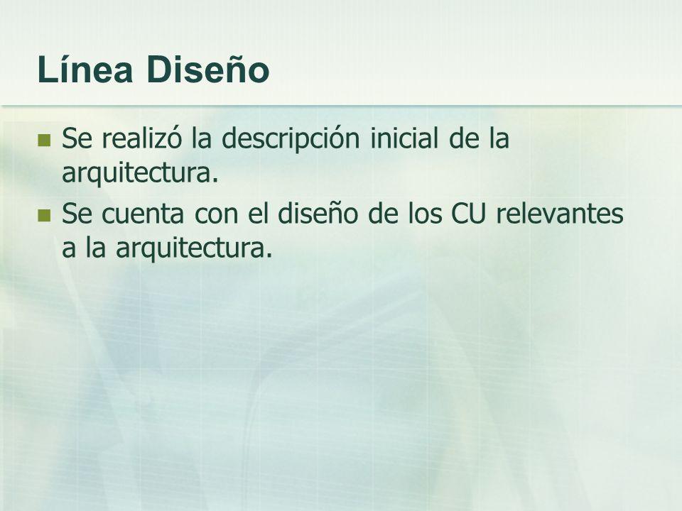 Línea Diseño Se realizó la descripción inicial de la arquitectura.
