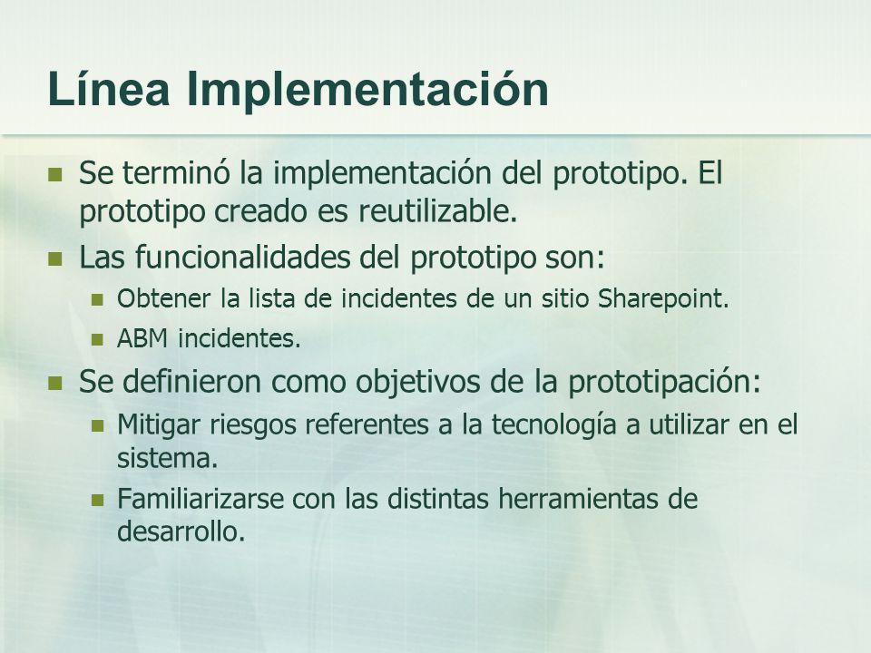 Línea Implementación Se terminó la implementación del prototipo. El prototipo creado es reutilizable.