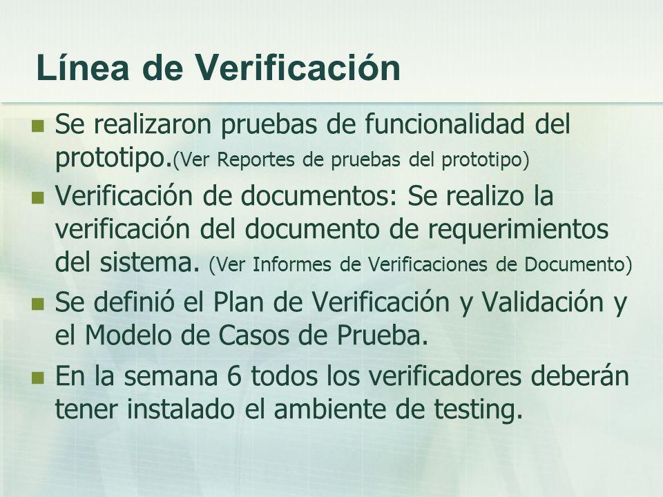 Línea de Verificación Se realizaron pruebas de funcionalidad del prototipo.(Ver Reportes de pruebas del prototipo)