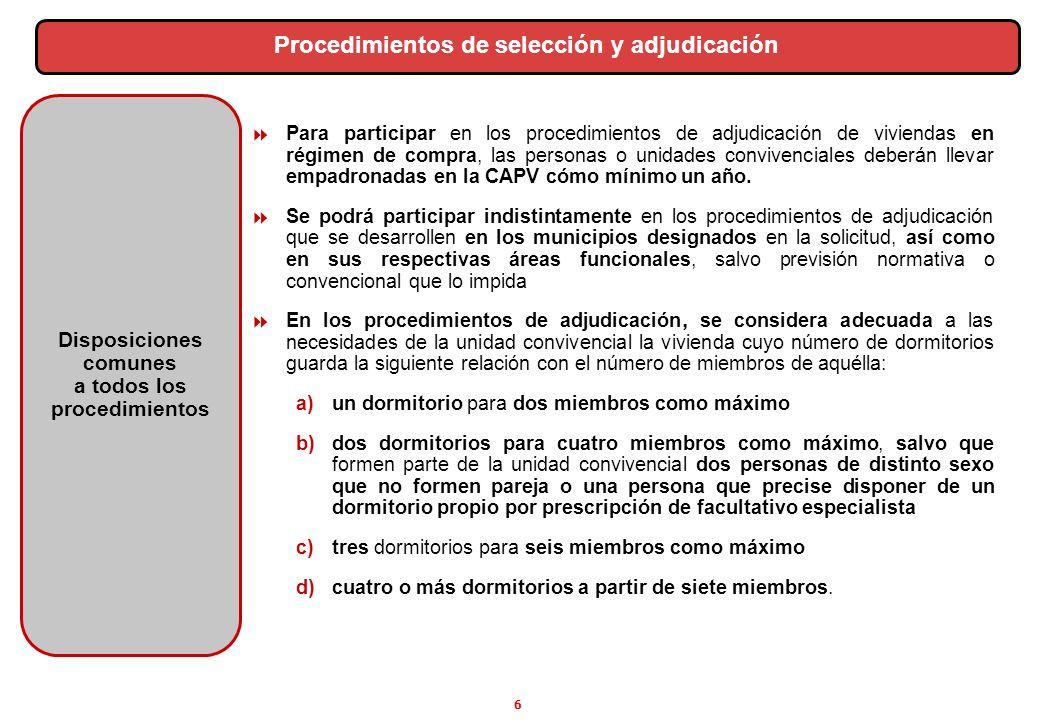 Procedimientos de selección y adjudicación