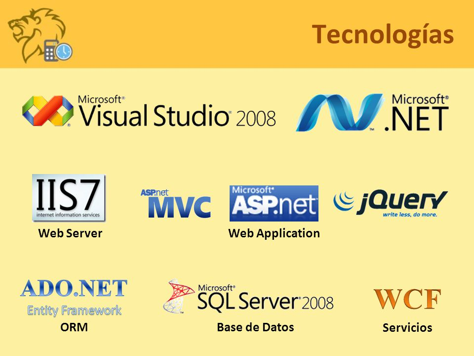 Tecnologías WCF ADO.NET Web Server Web Application Entity Framework