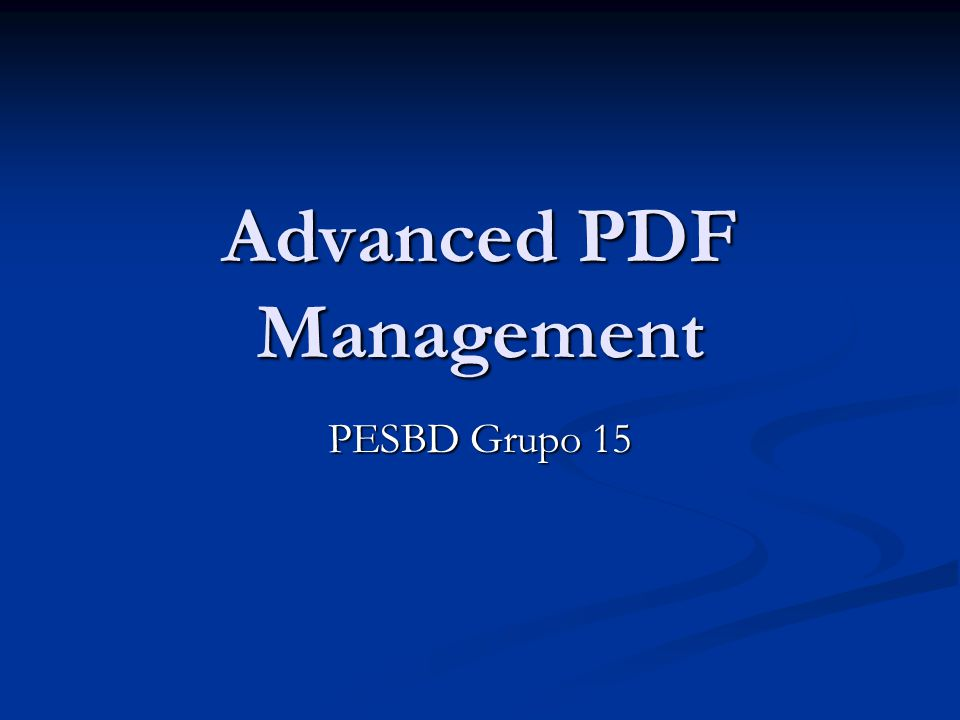 Advanced PDF Management