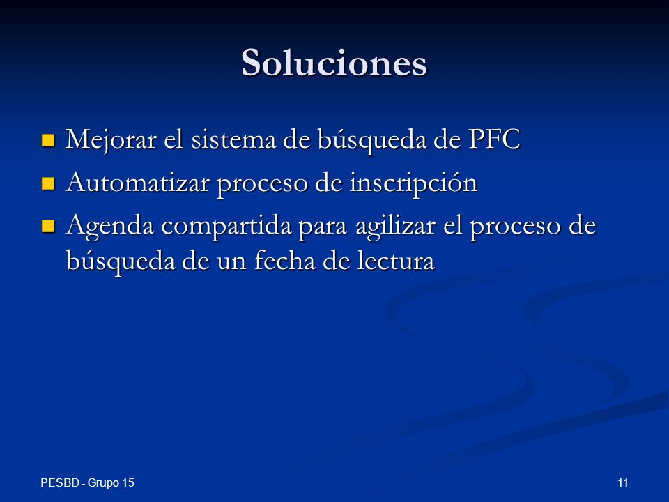Soluciones Mejorar el sistema de búsqueda de PFC