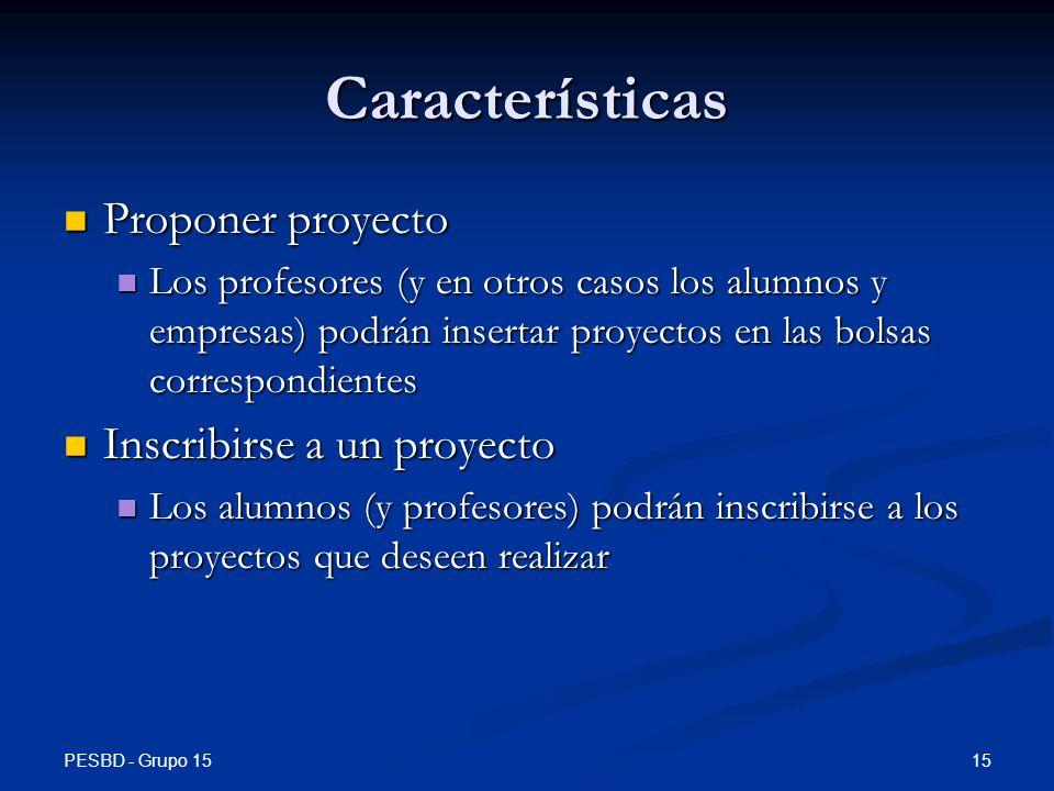 Características Proponer proyecto Inscribirse a un proyecto