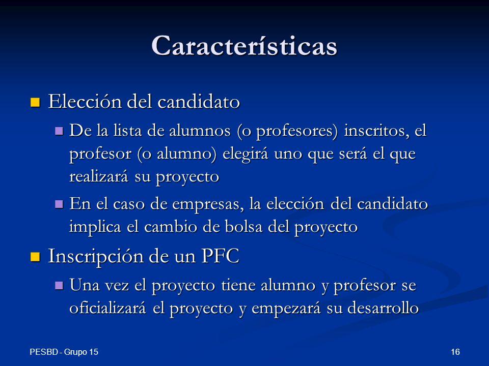 Características Elección del candidato Inscripción de un PFC