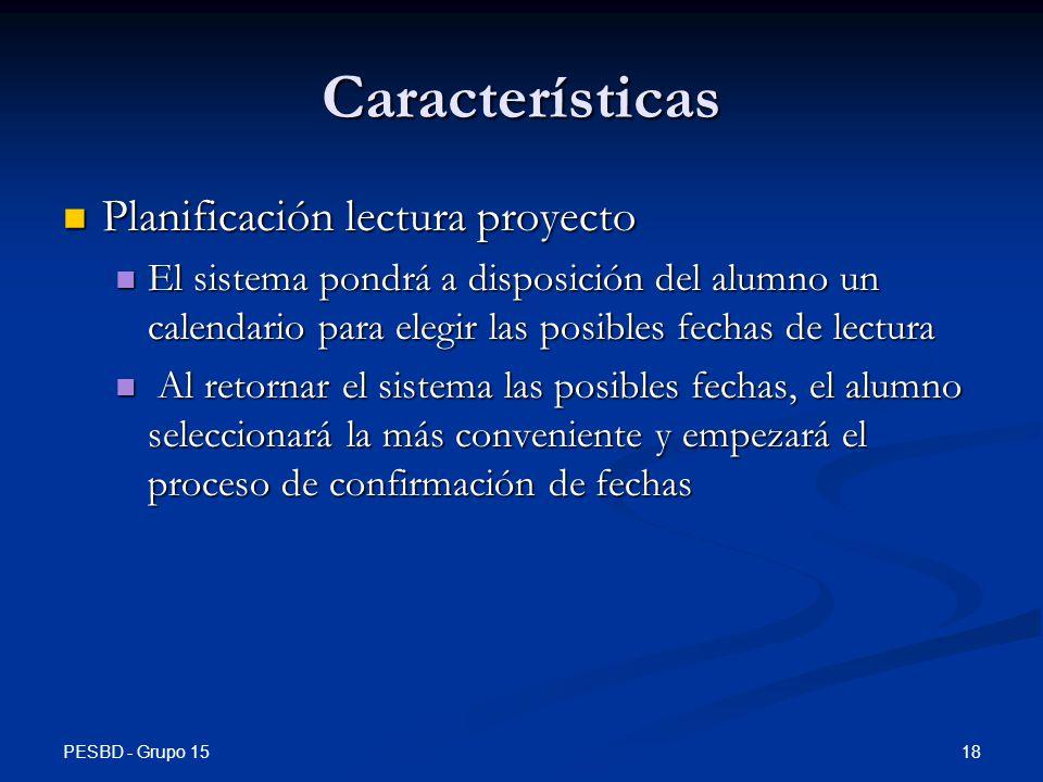 Características Planificación lectura proyecto