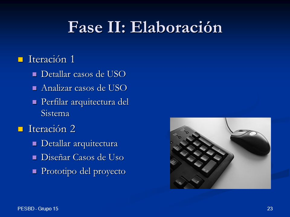 Fase II: Elaboración Iteración 1 Iteración 2 Detallar casos de USO