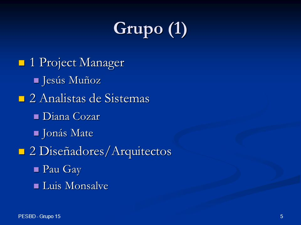 Grupo (1) 1 Project Manager 2 Analistas de Sistemas