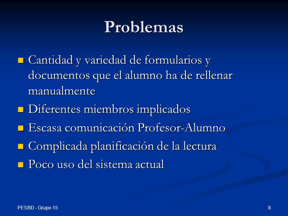 Problemas Cantidad y variedad de formularios y documentos que el alumno ha de rellenar manualmente.