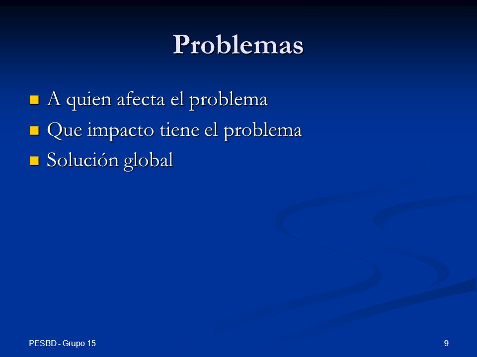 Problemas A quien afecta el problema Que impacto tiene el problema
