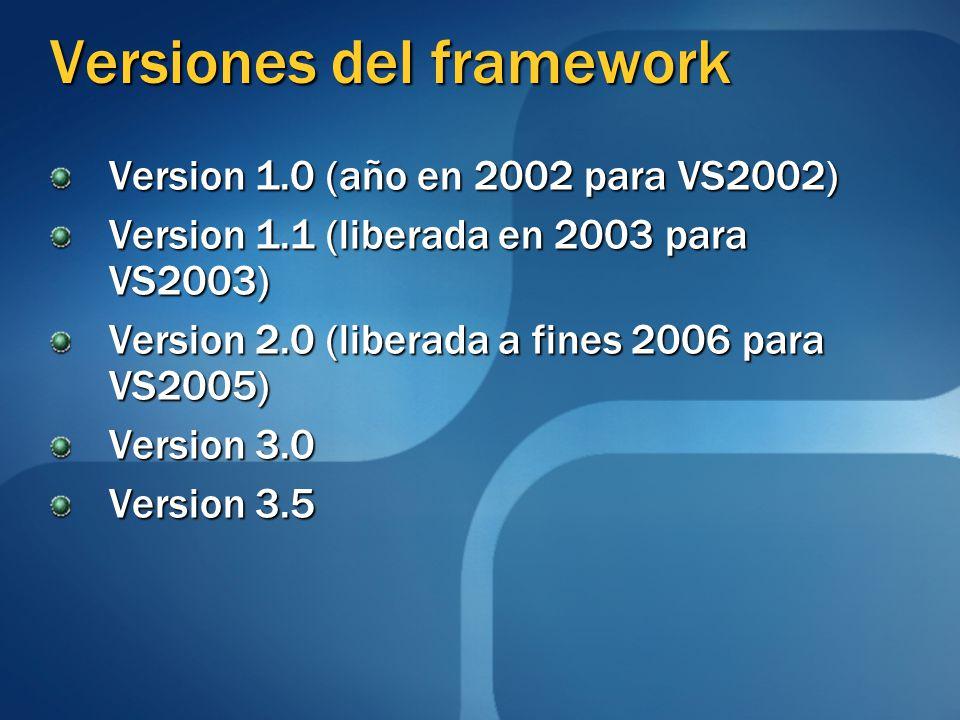 Versiones del framework