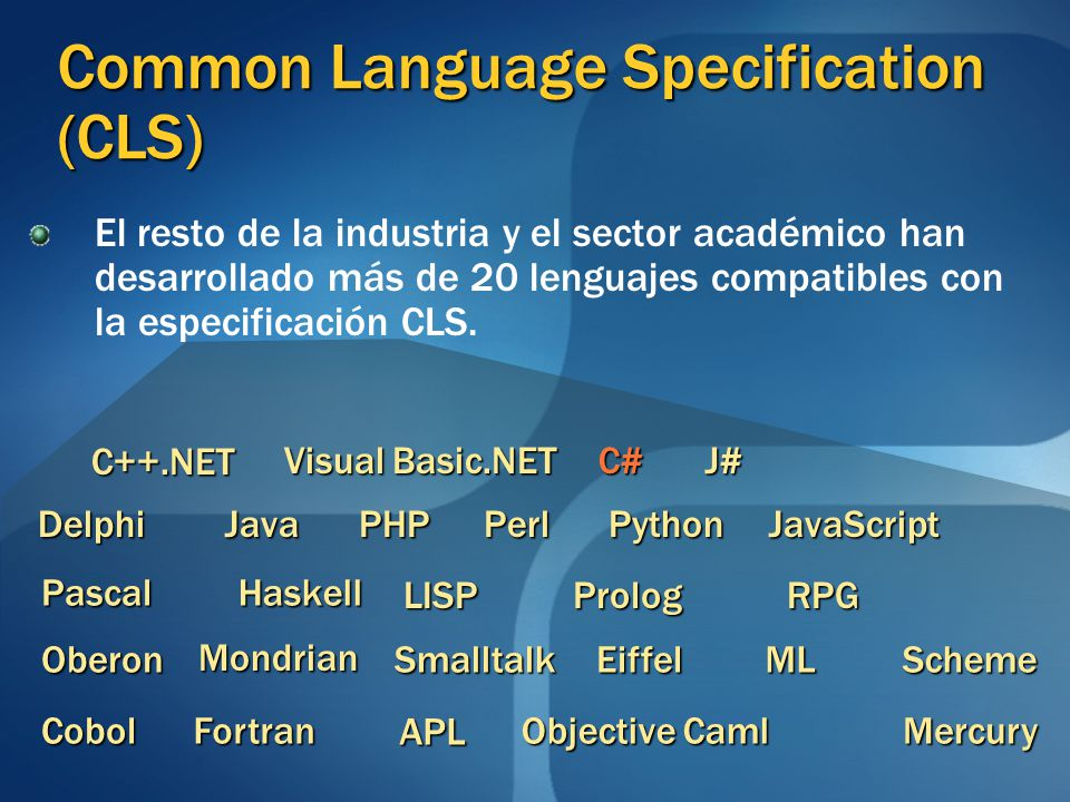 Common Language Specification (CLS)
