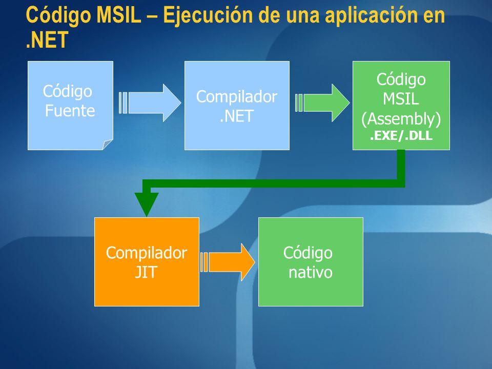 Código MSIL – Ejecución de una aplicación en .NET