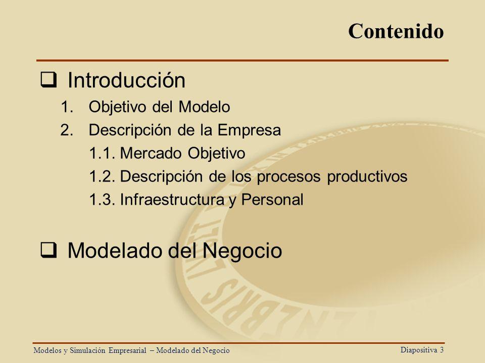 Contenido Introducción Modelado del Negocio Objetivo del Modelo