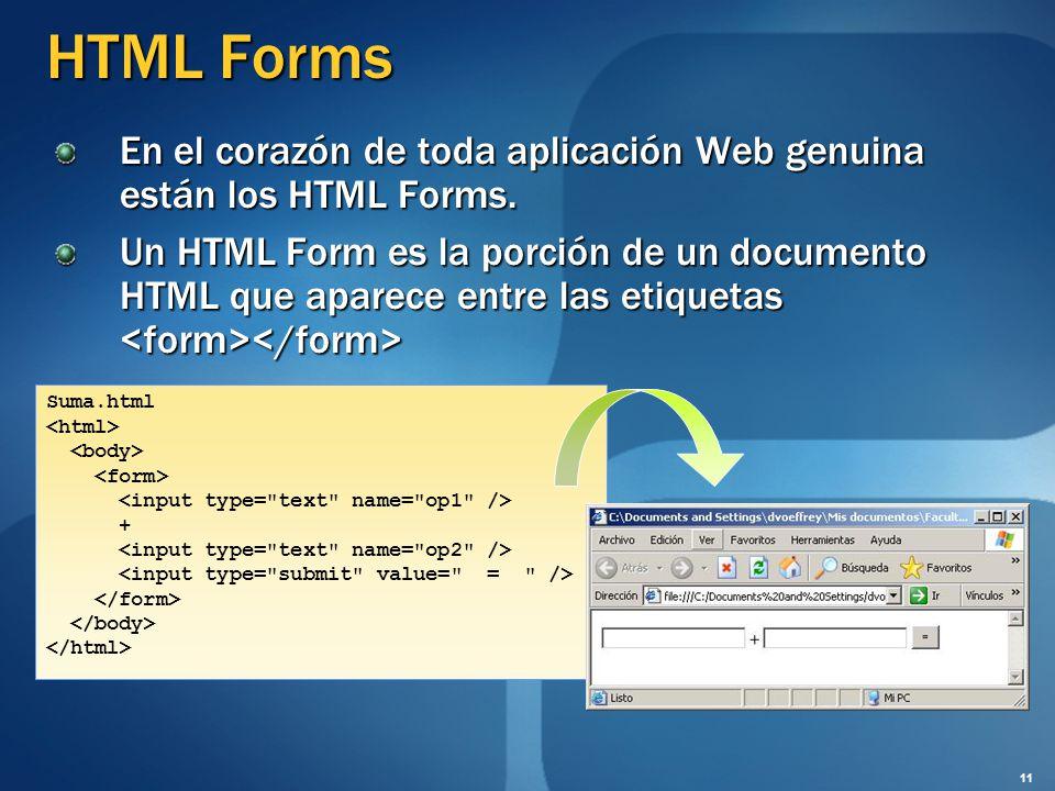 HTML Forms En el corazón de toda aplicación Web genuina están los HTML Forms.