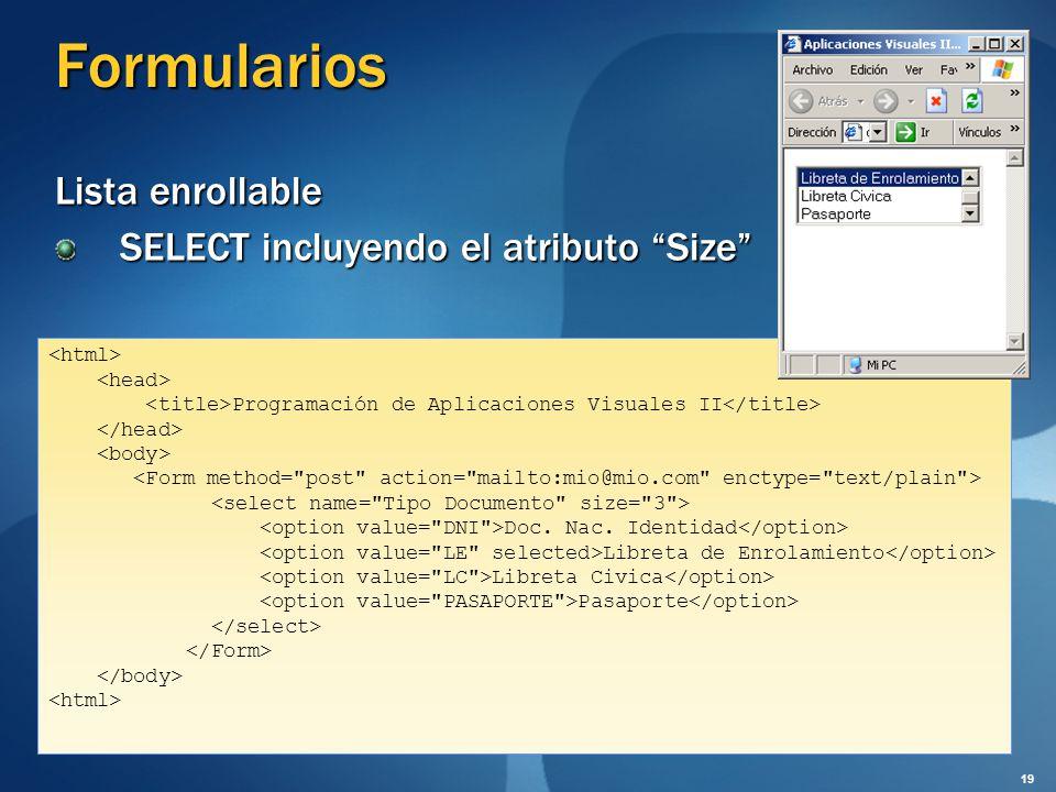 Formularios Lista enrollable SELECT incluyendo el atributo Size