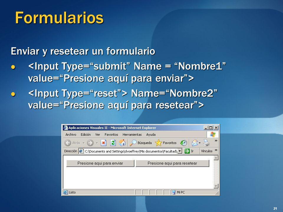 Formularios Enviar y resetear un formulario