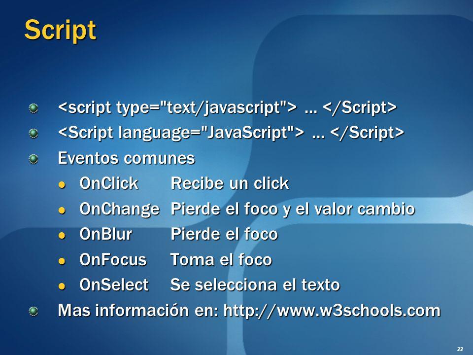 Script <script type= text/javascript > ... </Script>