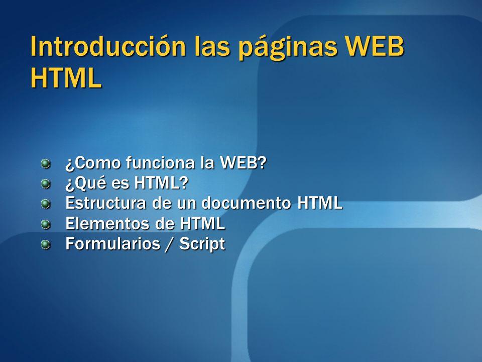 Introducción las páginas WEB HTML