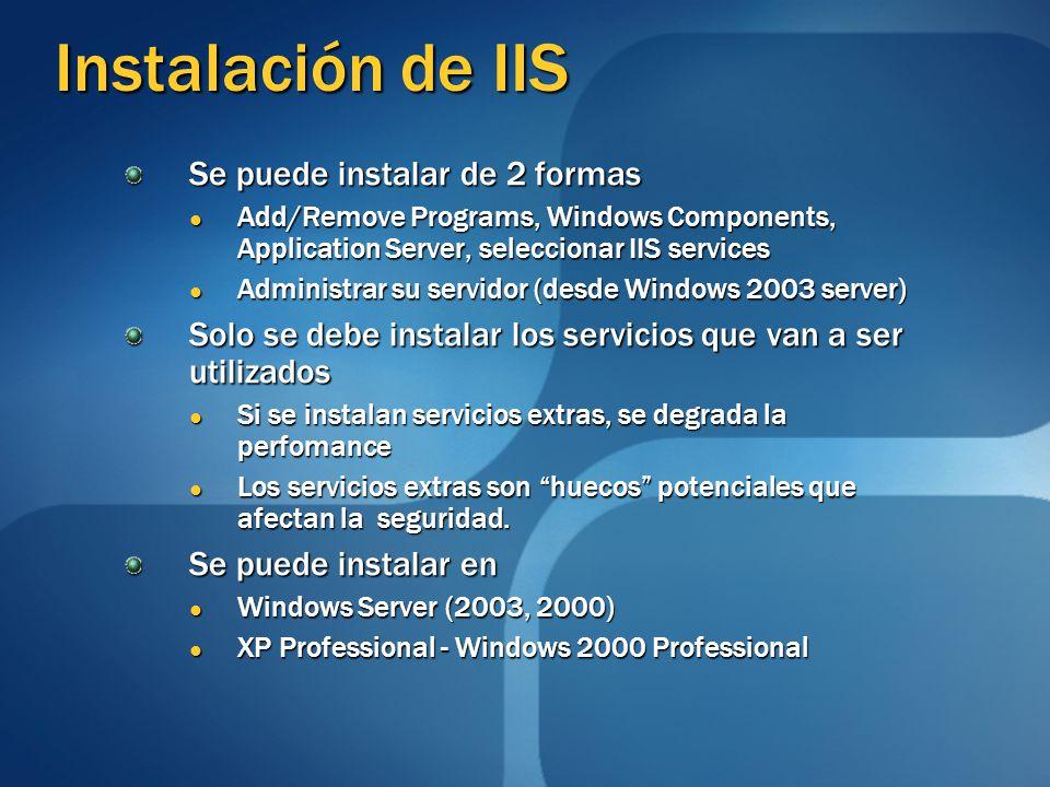 Instalación de IIS Se puede instalar de 2 formas