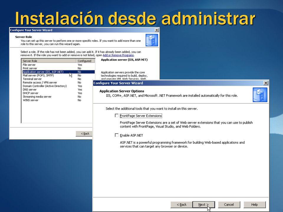 Instalación desde administrar su servidor