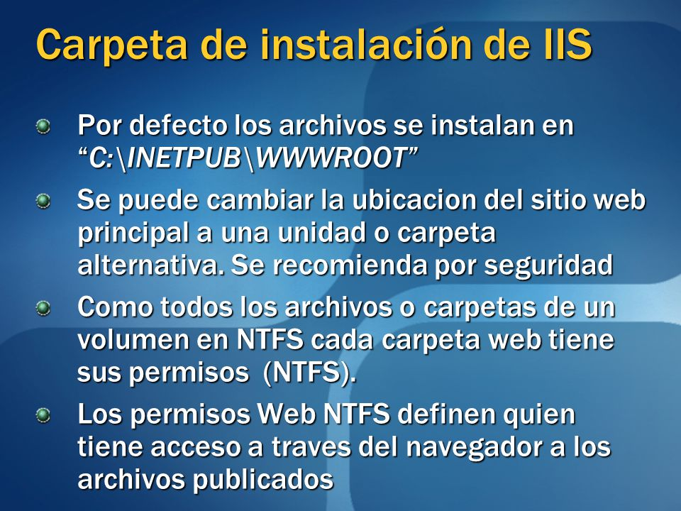 Carpeta de instalación de IIS