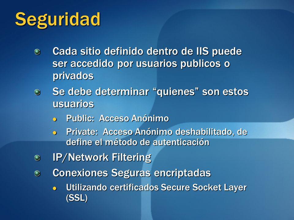 Seguridad Cada sitio definido dentro de IIS puede ser accedido por usuarios publicos o privados. Se debe determinar quienes son estos usuarios.