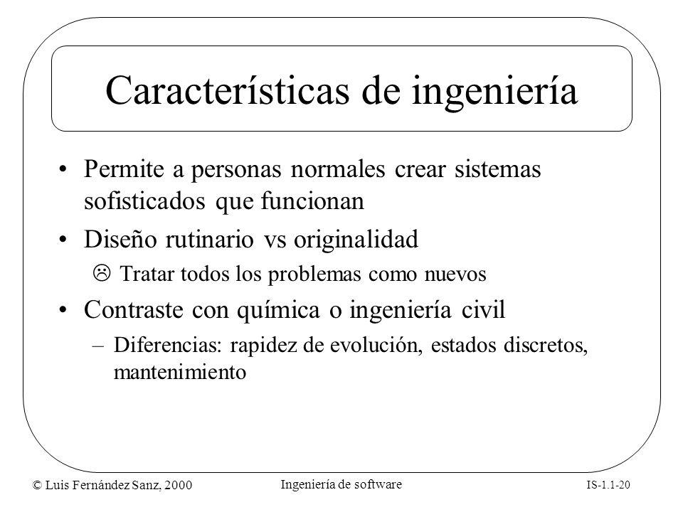 Características de ingeniería