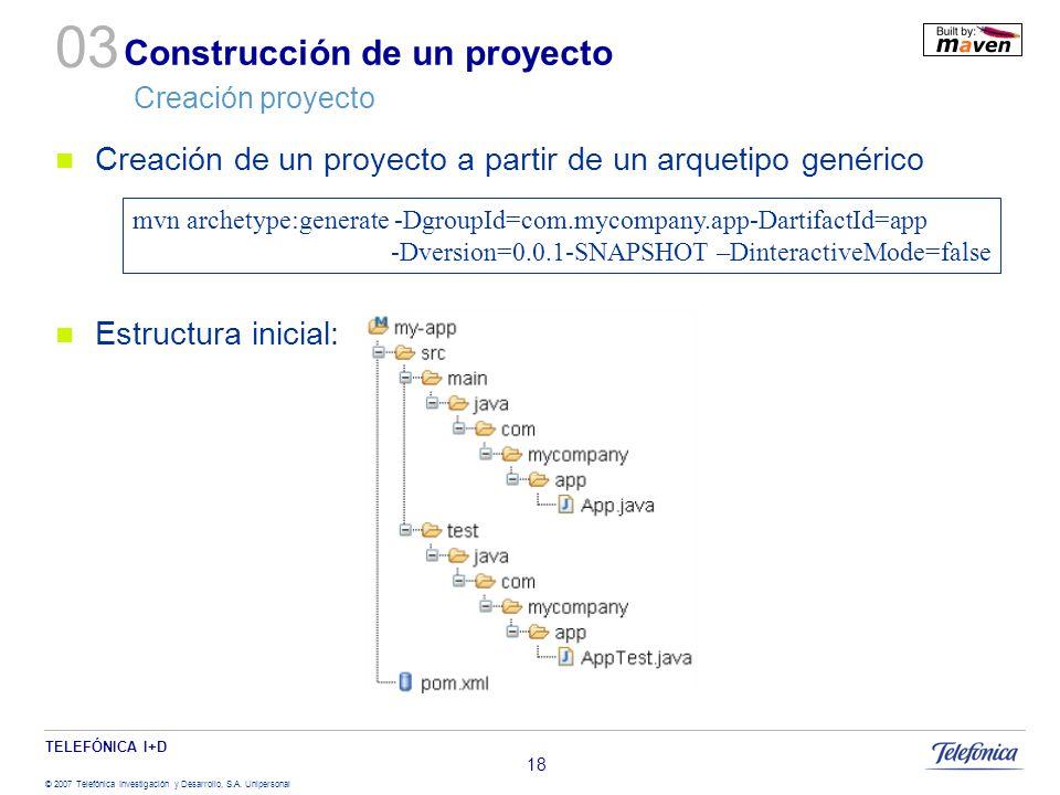 Construcción de un proyecto Creación proyecto