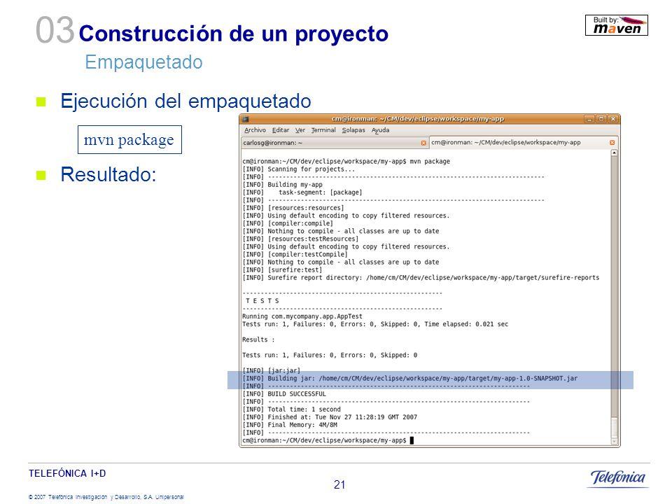 Construcción de un proyecto Empaquetado