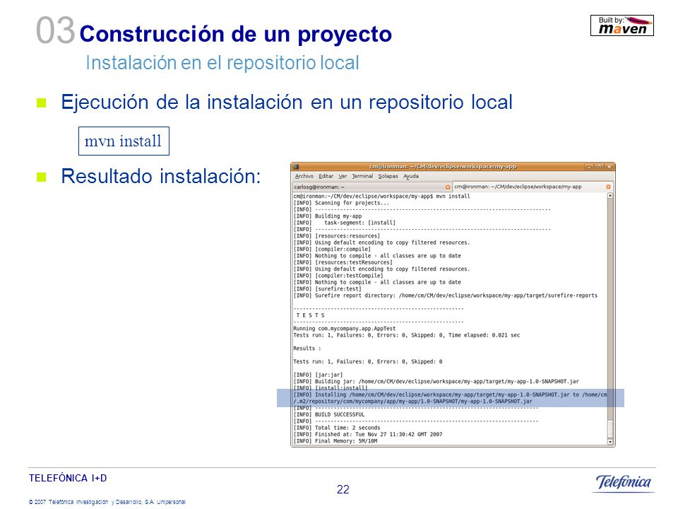 Construcción de un proyecto Instalación en el repositorio local