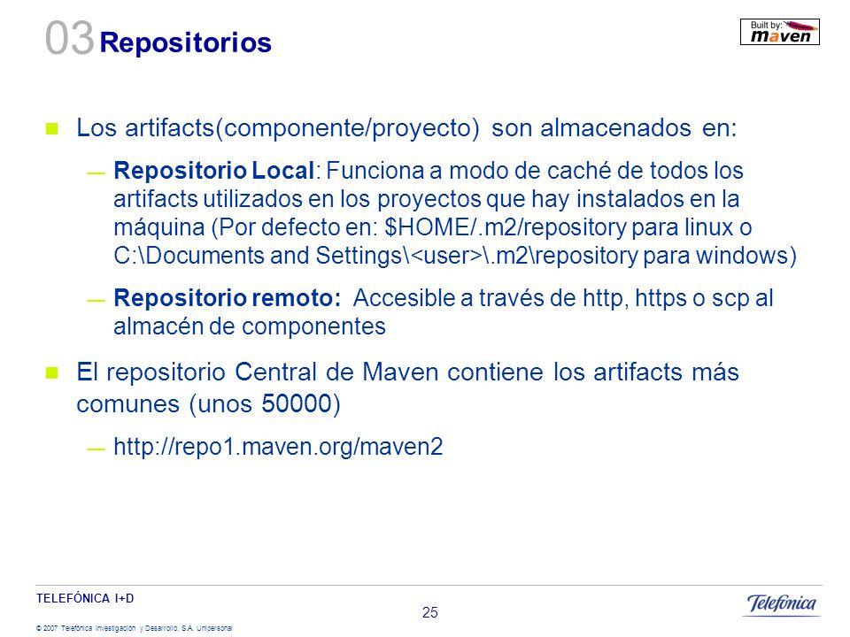 03 Repositorios Los artifacts(componente/proyecto) son almacenados en: