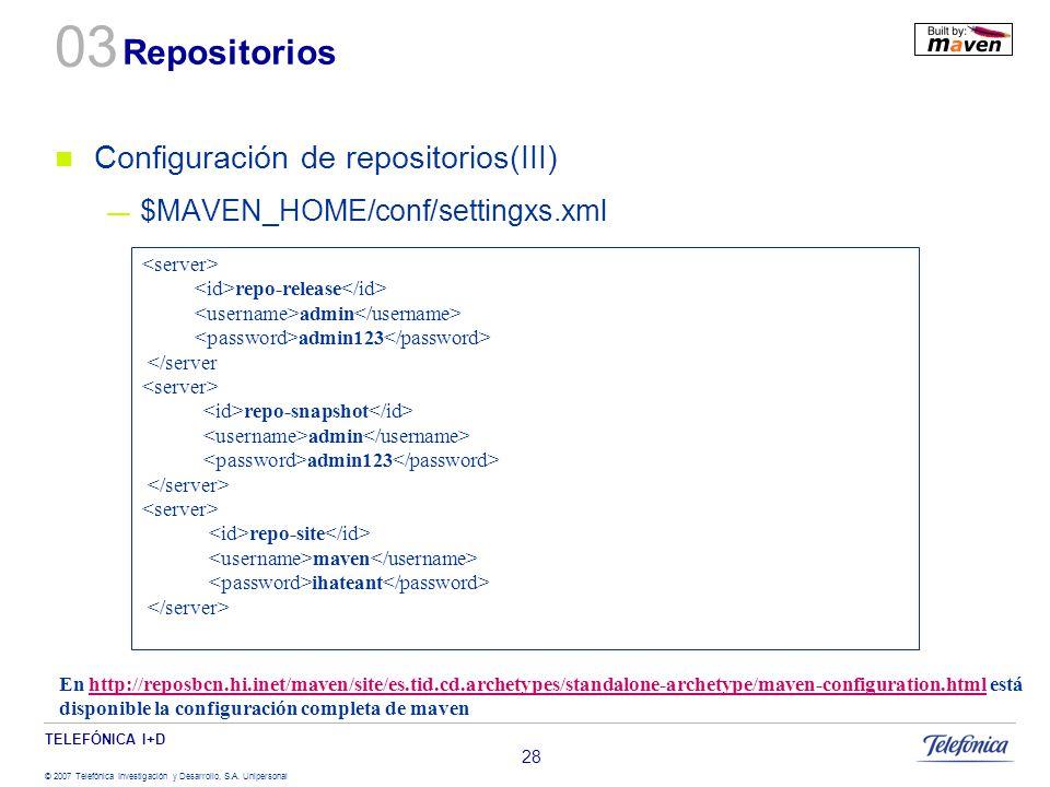 03 Repositorios Configuración de repositorios(III)