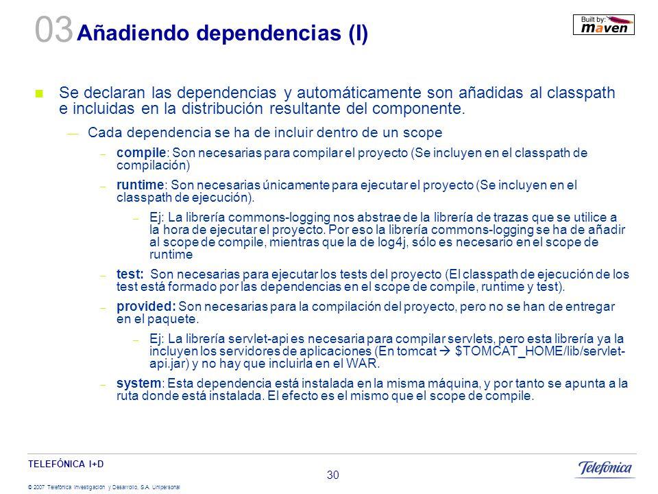 Añadiendo dependencias (I)