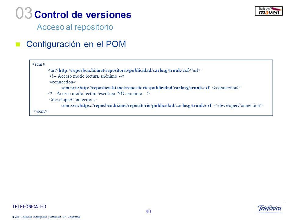 Control de versiones Acceso al repositorio