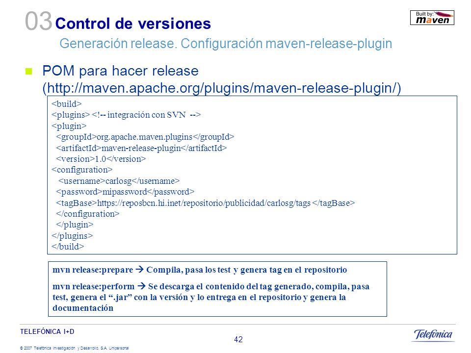 03 Control de versiones Generación release. Configuración maven-release-plugin.