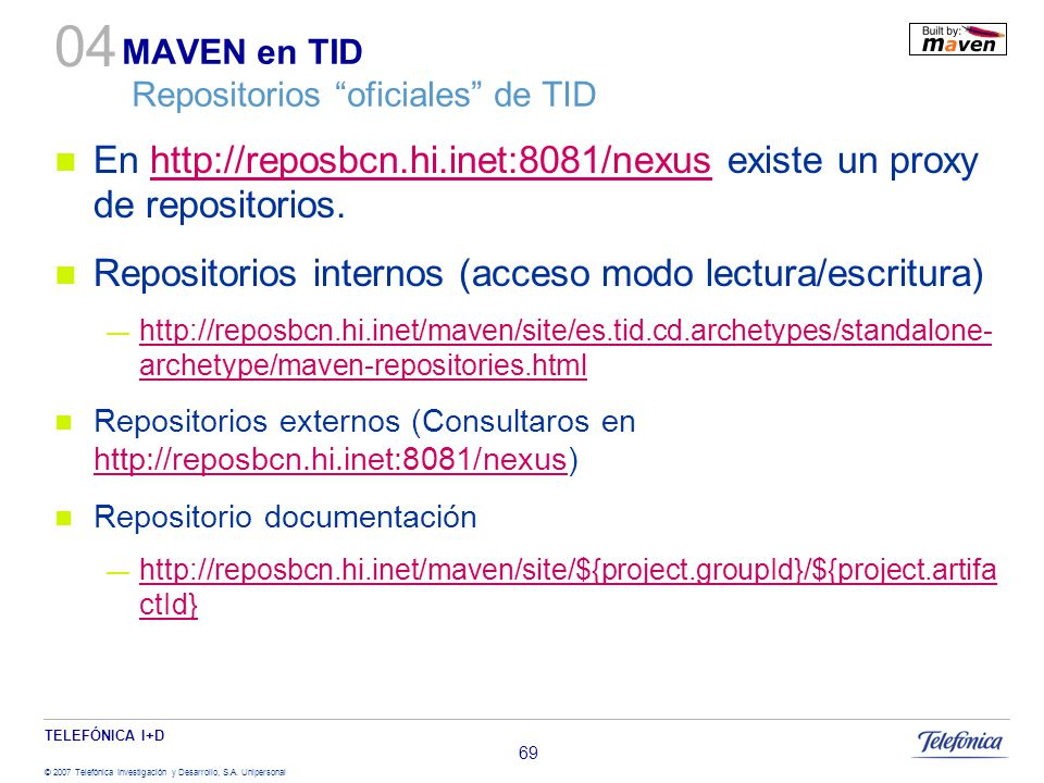 MAVEN en TID Repositorios oficiales de TID