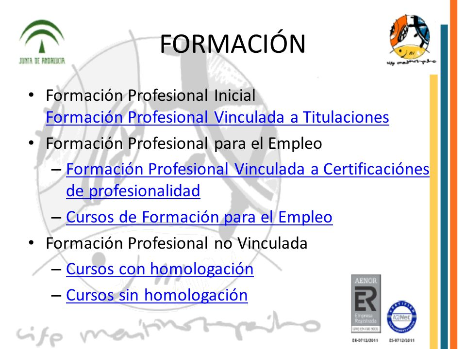 FORMACIÓNFormación Profesional Inicial Formación Profesional Vinculada a Titulaciones. Formación Profesional para el Empleo.