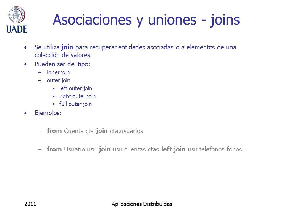 Asociaciones y uniones - joins