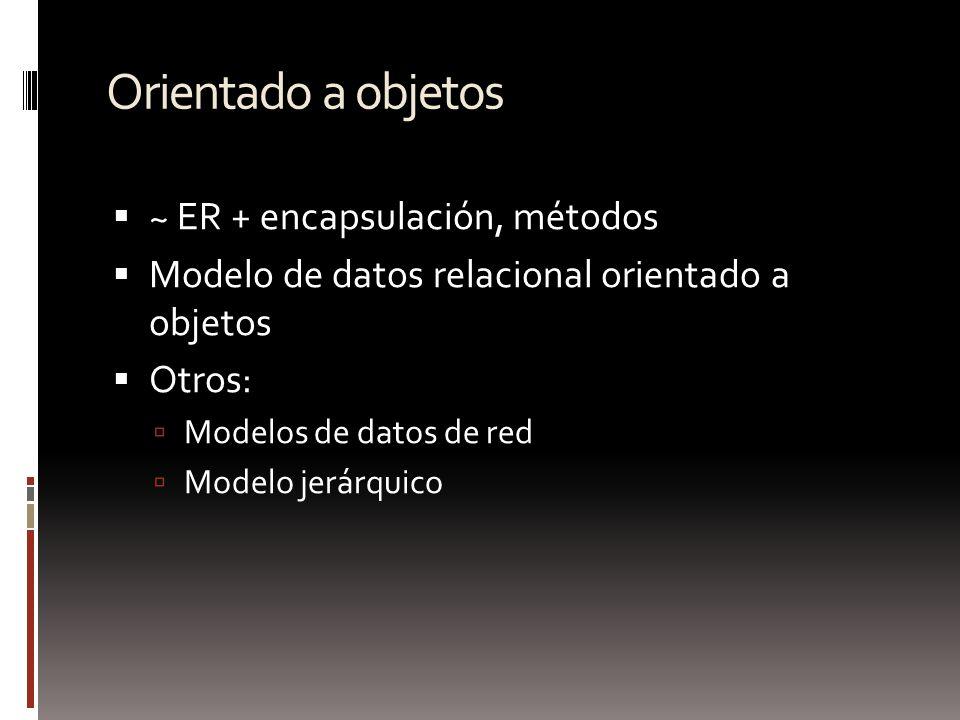 Orientado a objetos ~ ER + encapsulación, métodos