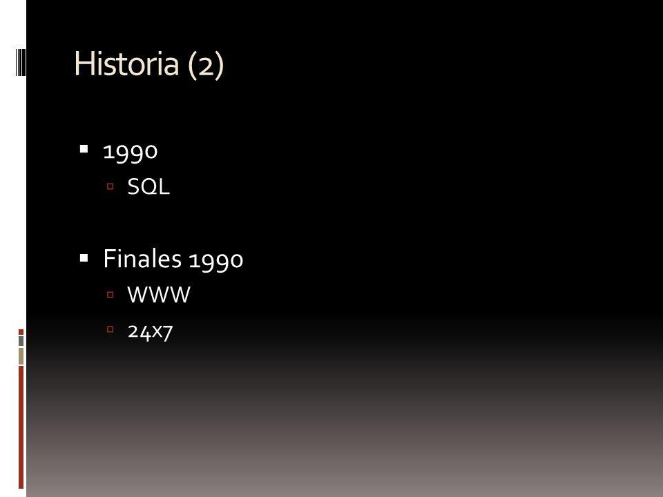 Historia (2) 1990 SQL Finales 1990 WWW 24x7