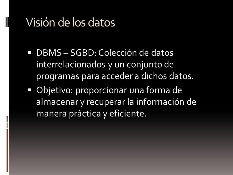 Visión de los datos DBMS – SGBD: Colección de datos interrelacionados y un conjunto de programas para acceder a dichos datos.