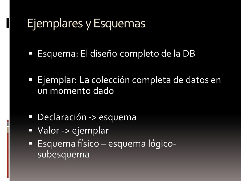 Ejemplares y Esquemas Esquema: El diseño completo de la DB