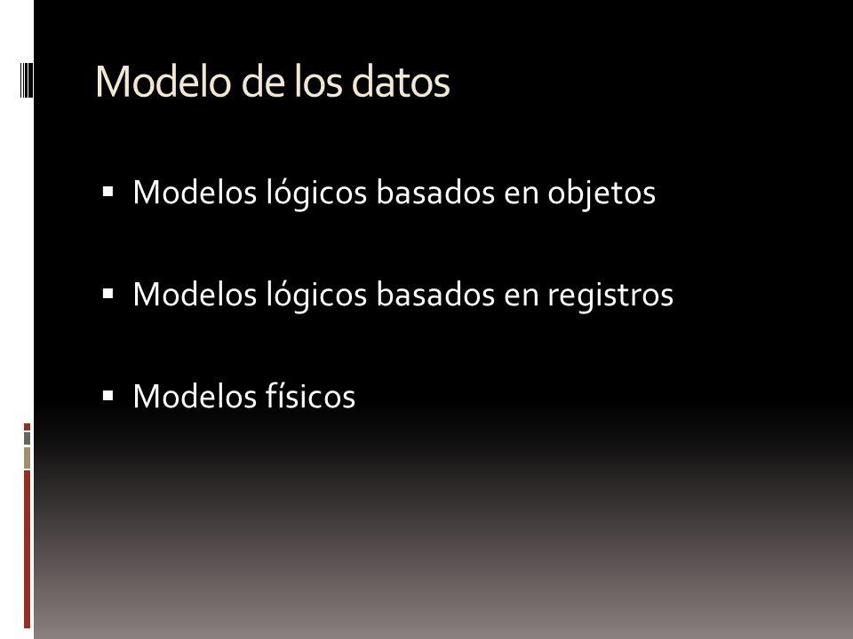 Modelo de los datos Modelos lógicos basados en objetos