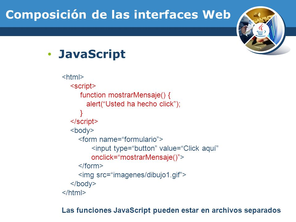 Composición de las interfaces Web