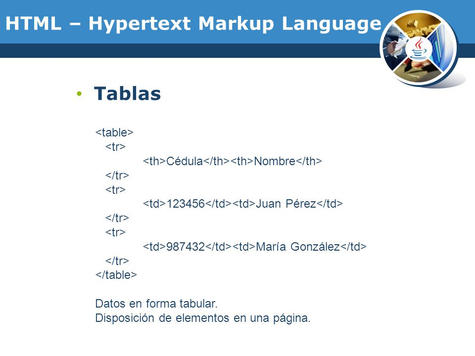 Curso de java y aplicaciones web ppt descargar for Tr th td table html