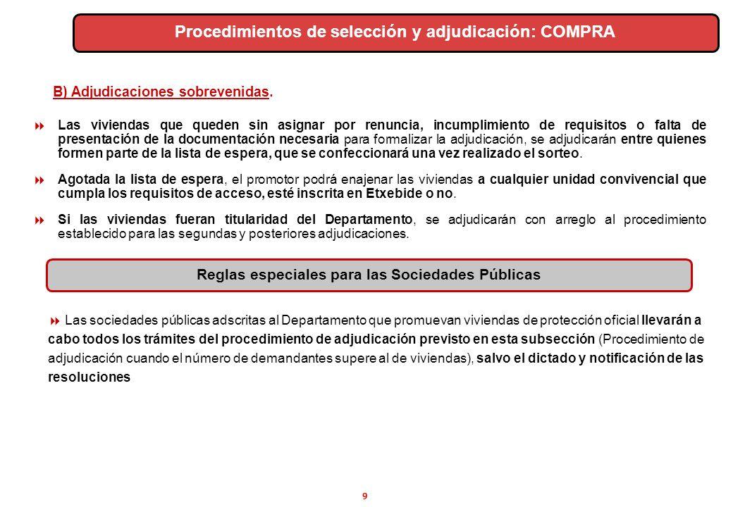 Procedimientos de selección y adjudicación: COMPRA